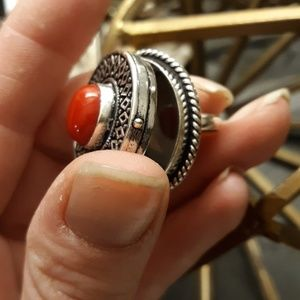 New Coral Silver Poison Ring. 6.75